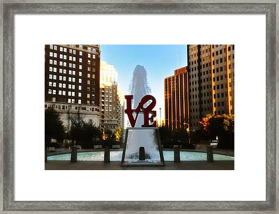 Love Park - Love Conquers All Framed Print by Bill Cannon