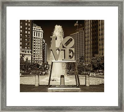Love Park - Philadelphia In Sepia Framed Print by Bill Cannon