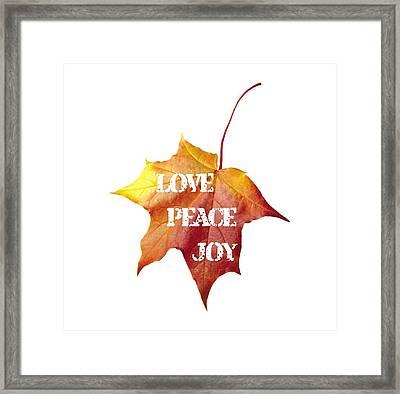 Love Peace Joy Carved On Fall Leaf Framed Print by Georgeta Blanaru