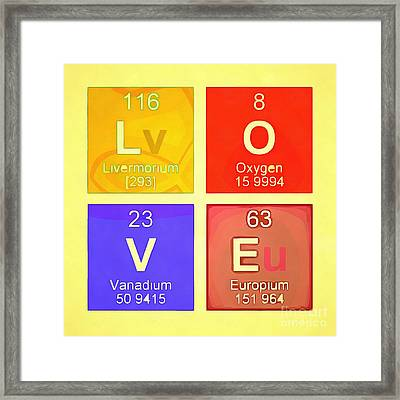 Love Pop Art Periodic Table  Framed Print