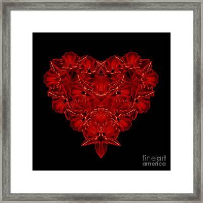 Love Red Floral Heart Framed Print