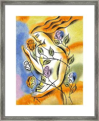 Love, Roses And Thorns Framed Print by Leon Zernitsky