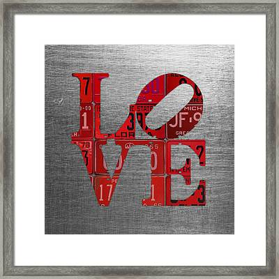 Love Sign Philadelphia Recycled Red Vintage License Plates On Aluminum Sheet Framed Print