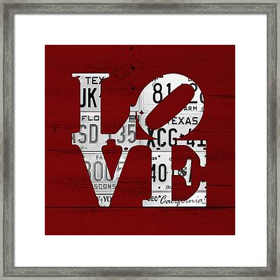 Love Sign Vintage License Plates On Red Barn Wood Framed Print by Design Turnpike