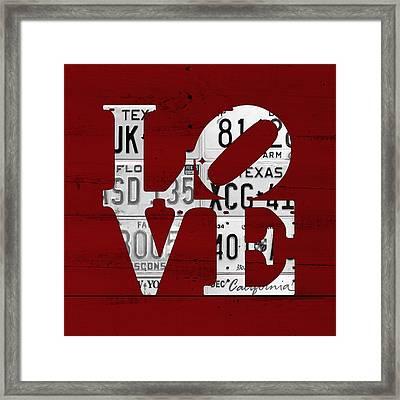 Love Sign Vintage License Plates On Red Barn Wood Framed Print
