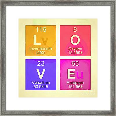 Love Square Periodic Table Elements Framed Print