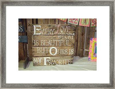 Love Story On Pallet  Framed Print by Anna Trask