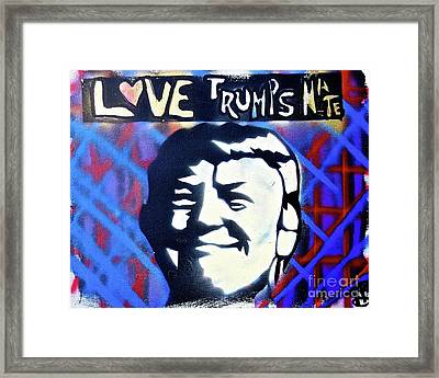 Love Trumps Hate Framed Print by Tony B Conscious