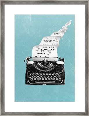 Love Typewriter Poster Framed Print