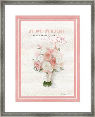 Love Typography Bridal Bouquet Damask Lace Coral Peach Blush Framed Print by Audrey Jeanne Roberts