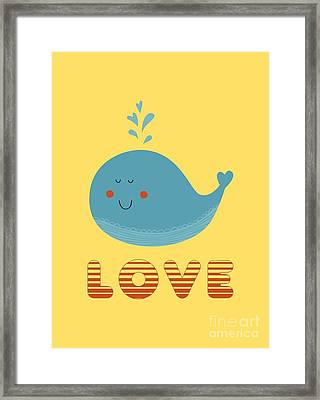 Love Whale Cute Animals Framed Print by Edward Fielding