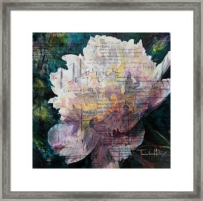 Love - White Peony Framed Print by Trish McKinney