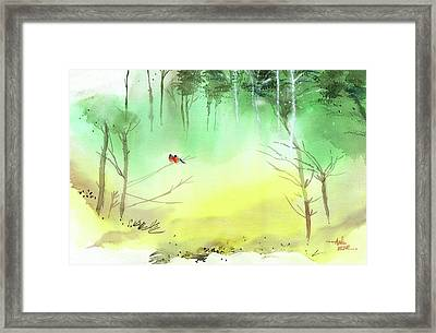 Framed Print featuring the painting Lovebirds 3 by Anil Nene