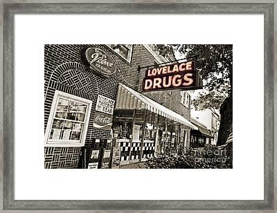 Lovelace Drugs Framed Print