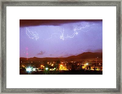 Loveland Colorado Front Range Foothills  Lightning Thunderstorm Framed Print