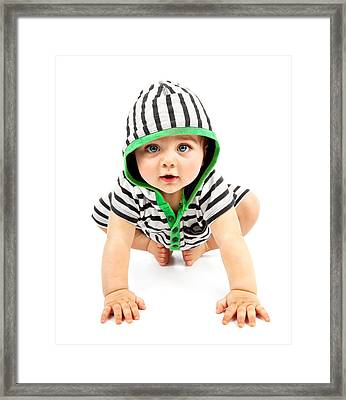 Lovely Boy Isolated On White Background Framed Print by Anna Om