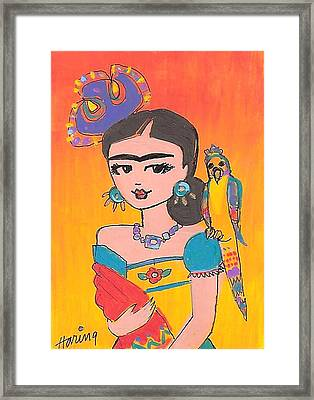Lovely Frida And Her Parrot Framed Print by Karen Haring