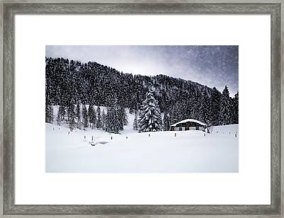 Lovely German Winter In Snow Flurry  Framed Print by Melanie Viola