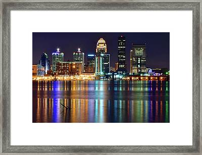 Lovely Louisville Lights Framed Print by Frozen in Time Fine Art Photography