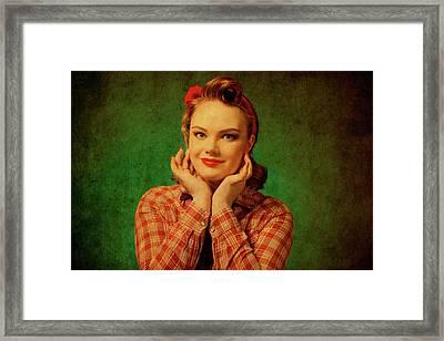Lovely Pin Up Girl Framed Print by Elena Riim