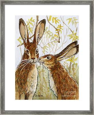 Lovely Rabbits - Little Kiss  Framed Print by Svetlana Ledneva-Schukina