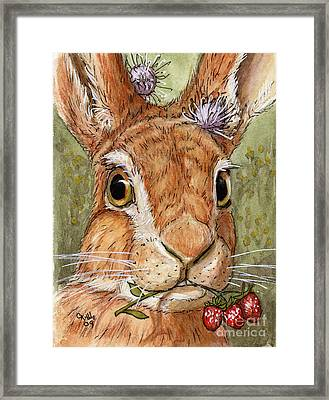 Lovely Rabbits - Wild Strawberry For My Darling Framed Print