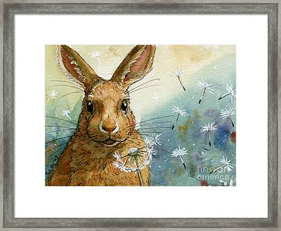 Lovely Rabbits - With Dandelions Framed Print by Svetlana Ledneva-Schukina