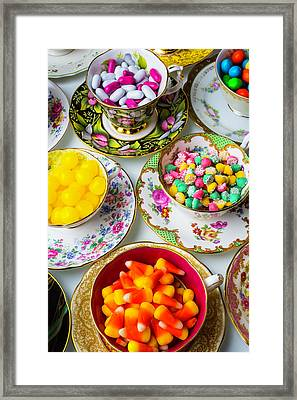 Lovely Tea Cups And Candy Framed Print