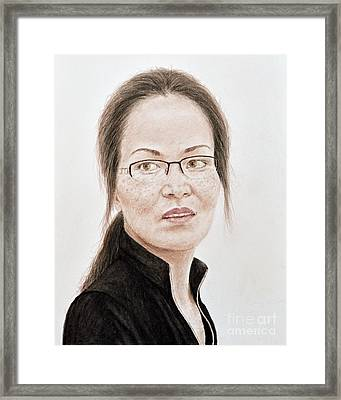 Lovely Vietnamese Woman With Glasses And Freckles  Framed Print by Jim Fitzpatrick