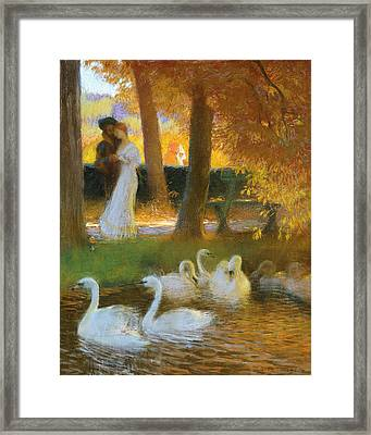 Lovers And Swans  The Autumn Walk Framed Print by Gaston de Latouche