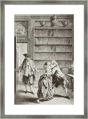 Lovers Caught Kissing By The Woman S Framed Print