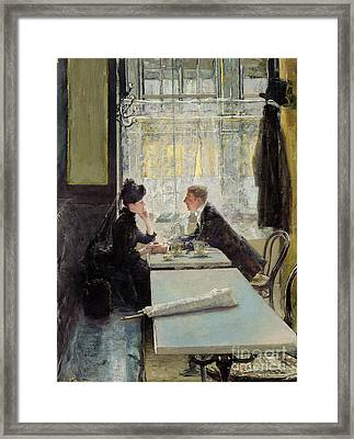 Lovers In A Cafe Framed Print by Gotthardt Johann Kuehl
