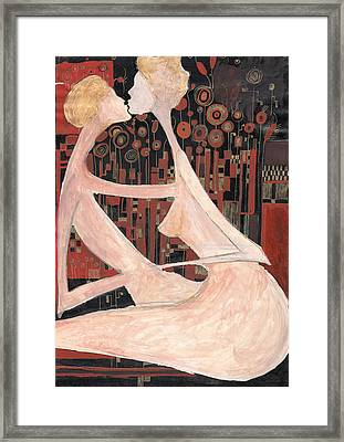 Framed Print featuring the painting Lovers by Maya Manolova