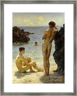 Lovers Of The Sun Framed Print by Henry Scott Tuke
