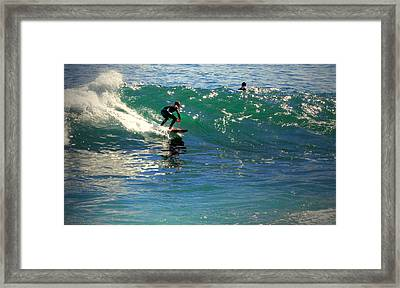 Lovers Point Surfers 004 Framed Print by Joyce Dickens