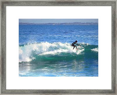 Lovers Point Surfers 005 Framed Print by Joyce Dickens