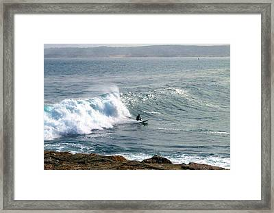 Lovers Point Surfing Framed Print by Joyce Dickens