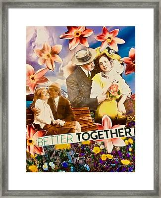 Framed Print featuring the mixed media Lovers Together by Joan Reese