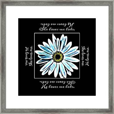 Loves Me In Blue Framed Print