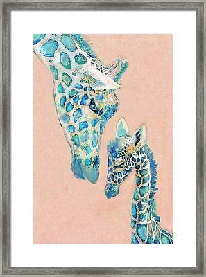 Framed Print featuring the digital art Loving Giraffes Family- Coral by Jane Schnetlage