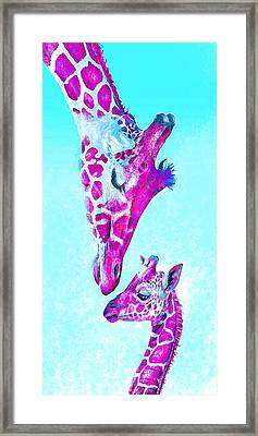 Framed Print featuring the digital art Loving Giraffes- Magenta by Jane Schnetlage