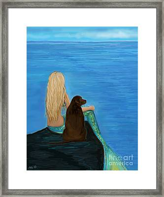 Framed Print featuring the painting Loving Lab Loyalty by Leslie Allen