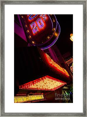 Framed Print featuring the photograph Low Angle Neon Signs At Night In North Beach San Francisco by Jason Rosette