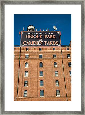 Low Angle View Of A Baseball Park Framed Print