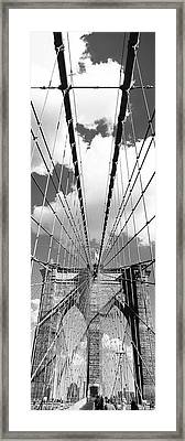 Low Angle View Of A Bridge, Brooklyn Bridge, Manhattan, New York City, New York State, Usa Framed Print by Panoramic Images