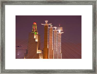 Low Angle View Of Cables Attached Framed Print by Panoramic Images