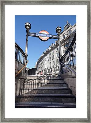 Low Angle View Of Entrance Of Subway Framed Print
