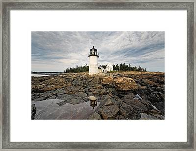 Low Angle View Of The Marshall Point Lighthouse Maine Framed Print by George Oze