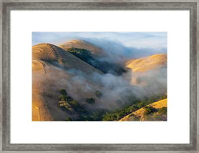 Low Clouds Between Hills Framed Print