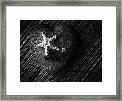 Low Key Heart And Starfish Framed Print